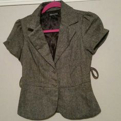 "GRAY WOOL BLEND JACKET - SIZE SMALL. ..NEW NEW This jacket is very classy, stylish and fitted..arm to arms is 16"" and length is 20"" THIS JACKET IS NEW NEW ..NEVER BEEN WORN!!!! stoosh Tops Button Down Shirts"