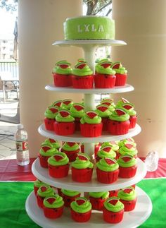 Watermelon Cupcake Tower by SweetTreatsbyJess on Cake Central