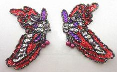 0097 ~ PURPLE GREEN PAIR SEQUIN BEADED APPLIQUES 5.5/""