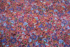 Red balinese style cotton fabric Croft mill