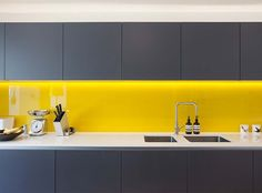 Kitchen Lighting Ideas Yellow splashback, grey kitchen cupboards in a Victorian terrace house renovation in vibrant East London Grey Kitchen Cupboards, Grey Kitchens, Kitchen Tiles, Kitchen Colors, Home Kitchens, Kitchen Yellow, Yellow Cupboards, Yellow Kitchens, Kitchen Grey