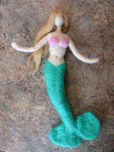 Needle Felted Mermaid Doll with Seashells by radishworks on Etsy, $37.00
