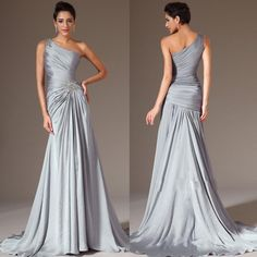 2015 Best Selling One Shoulder A Line Brush Satin-chiffon Silver Long Prom Gowns Ruched Sexy Evening Dresses Plus Size Mother of the Bride Online with $98.96/Piece on Magicdress2011's Store | DHgate.com