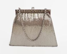 Whiting and Davis silver mesh handbag with decorative frame with crystals, mid 20th century by CardCurios on Etsy Lovely Shop, Gold Brooches, Carat Gold, Metal Chain, Mesh, Handbags, Purses, Crystals, Frame