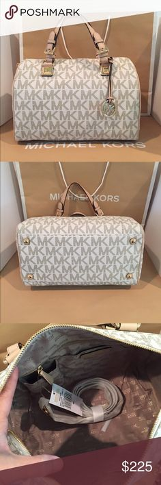 """😍💐Brandnew Michael Kors Grayson Large Vanilla💐 💞😍100% Authentic Michael Kors Michael Grayson Signature LARGE Crossbody/ satchel Handbag💐 NWT😍   PRODUCT FEATURES: PVC and leather trim  Michael Kors signature beige satin lining; Gold-toned hardware  Buckled top handles with pyramid stud detail; Zip top closure. Inside zipper pocket; 4 Inside pouch pockets; Protective feet on the bottom 14"""" (L) x 10"""" (H) x 7"""" (D) Michael Kors Bags Satchels"""