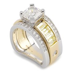 Paragon Collection - 2.01ct Square Radiant Cut Diamond accented by Fancy Yellow Baguette Cut and Round Brilliant Cut Diamonds set in Platinum and 18K Yellow Gold.