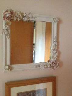 Plaster flower mirror. This is a good intro project into plaster molding. Use plastic flowers