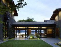 minimalist landscape. craftsman house. modern furnishings.