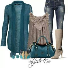 Fall outfit! Love it, although I think black jeans would make it look classier.