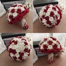 2014 Hand Made borgoña de lujo romántico broches Artificial flores decorativas de perlas y Crystal Wedding Bouquets para novias(China (Mainland))