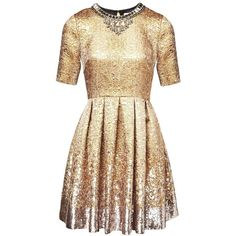 Matthew Williamson Gold Jacquard Sequin Dress ($1,460) ❤ liked on Polyvore featuring dresses, gold, short, gold sequin cocktail dresses, gold sequin dress, beige cocktail dress, short sequin cocktail dresses and beige dress