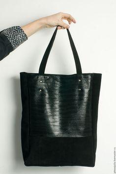 Купить Сумка шоппер из натуральной кожи и замши черная через плечо - черный, шоппер