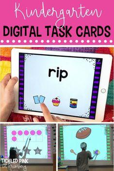 Digital Task Cards for Kindergarten - Distance Learning Kindergarten Activities, Kindergarten Addition, Learning Activities, Teaching Ideas, Vowel Activities, Preschool Literacy, Number Sense Activities, Geometry Activities, Fun Brain