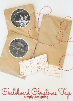 Chalkboard Christmas Tags - download this free holiday tag printable and print to use on all your holiday gifts this season!