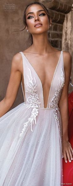 elihav sasson 2018 capsule bridal sleeveless deep plunging v neck heavily embellished bodice tulle skirt romantic soft a line wedding dress chapel train (1) zv -- Elihav Sasson 2018 Royalty Girl Capsule Collection