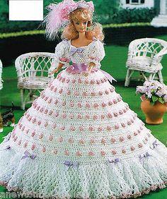 Pattern to Make BEAUTIFUL FLOWER TIPPED FASHION DOLL DRESS ~ Crochet PATTERN