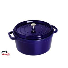 Check out this item at One Kings Lane! Large Round Cocotte, Dark Blue