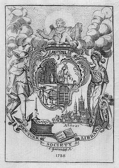 Bookplate of the New York Society Library Artist: Gallaudet, Elisha, 1730-1805   Date: 1758   Description: States, 'New-York Society Library;' features a shield supported by Hermes and a woman, a cityscape, a mask, and an open book. Signed at bottom 'E. Gallaudet. Sc. 1758.'   Format: 1 print, b&w, 15 x 10 cm.   Source: Pratt Institute Libraries, Special Collections 736 (sc00524)