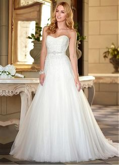 FABULOUS TULLE SWEETHEART NECKLINE NATURAL WAISTLINE A-LINE WEDDING DRESS SEXY LADY LACE FORMAL PROM BRIDESSMAID