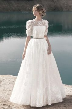 """Items similar to Designer Wedding Dress in Vintage Style Romantic gown from original French floral Lace in Vintage Style -""""Kapri"""" on Etsy - Vintage Wedding Dresses Vintage Style Wedding Dresses, Western Wedding Dresses, Best Wedding Dresses, Designer Wedding Dresses, Bridal Dresses, Vintage Dresses, Wedding Gowns, Wedding Vintage, Trendy Wedding"""
