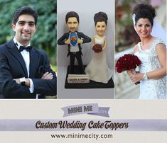 Stunning custom wedding cake toppers that look like the bride and groom!