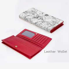 + This sleek wallet is custom printed with a trending marble pattern and includes 11 card slots to hold debit cards and credit cards, a clear window