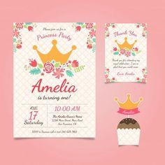 Invitación de cumpleaños de princesa con flores Vector Gratis