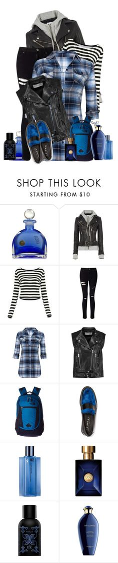 """CASUAL OFF DUTY ENSEMBLE : Cool Leather Hoodie Jacket"" by polyvore-suzyq ❤ liked on Polyvore featuring IRO, Miss Selfridge, The North Face, Joshua's, Thierry Mugler, Versace, The Fragrance Kitchen and Guerlain"