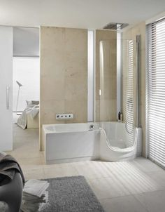 Bathroom : 25 Best Bathtub And Shower Combinations for Small Bathrooms - Magnificent Bathroom with Round Corner Bathtub And Shower Combination and Beige Wall Paint Idea medium version