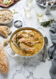 A delicious and easy creamy chicken recipe with braised leeks, carrots, orange, rosemary and thyme #chicken #recipes #easy #creamy