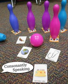 Therapy Activities: 14 Articulation Exercises for Kids Plastic bowling pins on top of articulation cards knocked over with cards word side upPlastic bowling pins on top of articulation cards knocked over with cards word side up Preschool Speech Therapy, Speech Therapy Games, Speech Pathology, Speech Language Pathology, Speech And Language, Articulation Therapy, Articulation Activities, Speech Therapy Activities, Language Activities