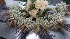 Lavender, Babies Breath and Hydrangea bouquets.  #weddingflowers  #bouquet #lavender #babiesbreath
