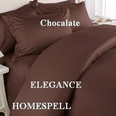 """Elegance Homespell Egyptian Cotton 500 Thread Count 3 - Pc Solid Sateen Duvet Cover Chocalate King. by Homespell. $70.99. 100% Egyptian Cotton. Machine Wash. Made In Egypt.. Machine wash cold or warm, tumble dry on low.. Elegance Homespell   500 thread count duvet cover. King set measures 106"""" W x 92"""" L and includes two king shams 20x36"""" each. Woven from 100% Egyptian cotton, which is the world s finest cotton this exquisite duvet cover set, has a 500 Thread Count. Protect y..."""