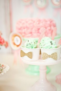 Glitter bowtie dessert accents for a derby party. #derby