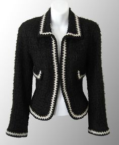 Authentic Chanel Jacket at prices up to off Retail. Chanel Outfit, Chanel Coat, Chanel Jacket, Chanel Fashion, Chanel Black, Coco Chanel, Boucle Jacket, Tweed Jacket, Black And White Jacket