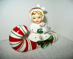 Collectible Vintage Pottery 1959 Napco Girl & Candy Cane Salt & Pepper Shakers
