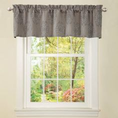 Triangle Home Fashions 19709 Lush Decor Empire Valance, Gray by Triangle Home Fashions. $23.99. Care; dry clean. Includes: 1 valance. Valance: 84-inch w by 20-inch d. Availalble in Gray. Jacquard with damask pattern. 20-inch by 84-inch Valance. Rod pocket slides onto curtain rod for installation.