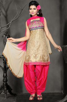 Beige Silk Punjabi Salwar Suit