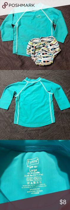 I Play rash guard and swim diaper I Play brand blue rash guard and reusable cloth swim diaper. Both are size 12-18 months(22-25lbs). Rash guard is 82% nylon, 18% elastane. Swim diaper is 100% polyester. UPF 50+. Very good condition. No holes or stains seen. Smoke free, pet friendly closet. I Play Swim Rashguards