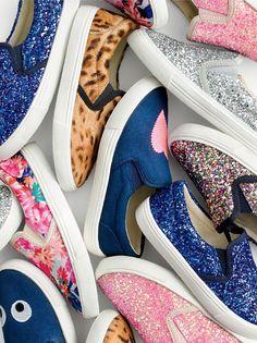 J.Crew girls' slide sneakers in glitter, slide sneakers in calf hair, slide sneakers in stacked floral and Max the Monster slide sneakers.