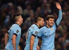 Samir Nasri, Kun Aguero and David Silva's smile. Manchester City.
