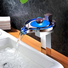 (172.80$)  Watch more here  - Wholesale Promotion Color Changing Round Temperature Sensor Vessel Sink Mixer Tall Taps LED Waterfall Faucets