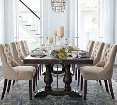 Need dining room inspiration? Shop Pottery Barn for stylish dining room ideas, furniture and decor. Plywood Furniture, Dining Room Furniture, Furniture Decor, Dining Room Table Decor, Furniture Design, Outdoor Furniture, Extension Dining Table, Dining Table Design, Pottery Barn