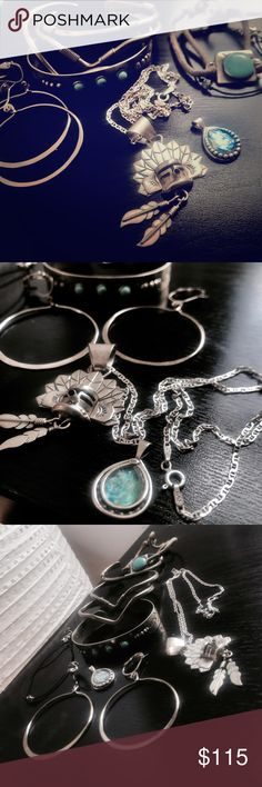 Cherokee Inspired Sterling Silver Set of 9 6 bracelets + 1 set of hoop earrings + 1 Sterling silver necklace made in italy + 1 Sterling silver opal pendant. For the 2 sterling pieces, quality is indicated on engravings as pictured. Jewelry