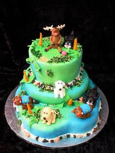 deer dog cat horse cake by The House of Cakes Dubai, via Flickr