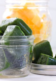 Frozen Kale Cubes for Smoothies - Quick fix for kale that you know you wont be able to finish before it goes bad!