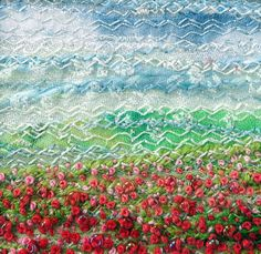 5 inch square card embroidered poppy landscape by StitchMikki