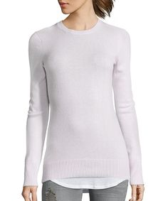 pink lavender cashmere crewneck sweater
