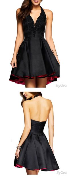 Sexy Women's V-neck Satin Splicing Lace Black Halter Party Skirt Dress for big sale! #sexy #skirt #dress #Lace #women #party