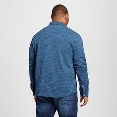 Men's Big & Tall Long Sleeve Polo Shirt - Merona Blue Dot 4XB Tall, Size: 4XBT